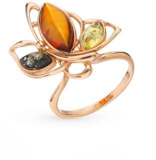 Серебряное кольцо с янтарем ЯНТАРНАЯ ВОЛНА 820163п: жёлтое серебро 925 пробы, янтарь — купить в интернет-магазине SUNLIGHT, фото, артикул 86013