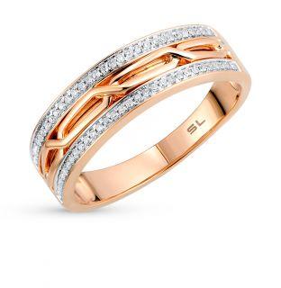 Золотое кольцо с бриллиантами SUNLIGHT: красное и розовое золото 585 пробы, бриллиант — купить в интернет-магазине Санлайт, фото, артикул 58239