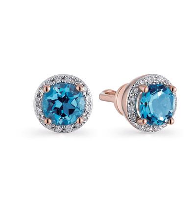 3e2ba47af094 Серьги с 32 бриллиантами, 0.06 карат  2 топазами голубыми, 0.94 карат   Розовое золото 585 пробы. −52% SUNLIGHT