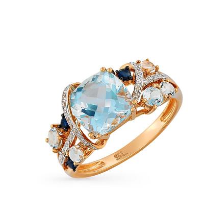 Кольцо с 30 бриллиантами, 0.08 карат  3 сапфирами, 0.11 карат 4 топазами  голубыми, 3.04 карат 2 топазами бесцветными, 0.17 карат  Розовое золото 585  пробы. c31d223b2ff