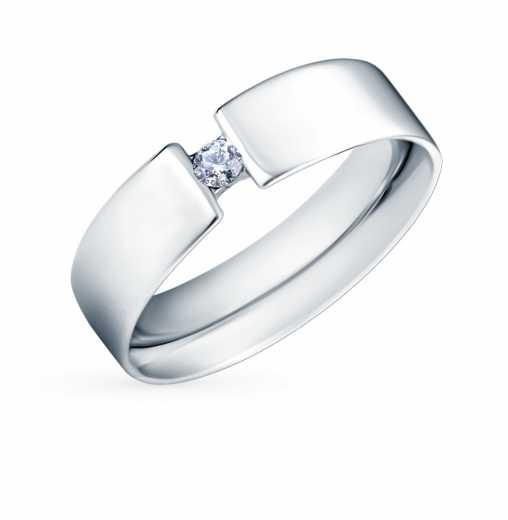 Кольцо с 1 бриллиантом, 0.06 карат  Белое золото 585 пробы. −50% Пушкинский  ювелирный завод e14498d6d49
