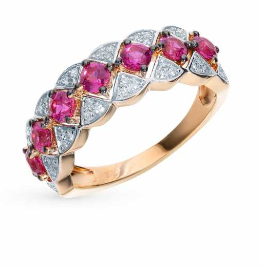 Кольцо с 48 бриллиантами, 0.14 карат  7 рубинами синтетическими, 0.97  карат  Розовое золото 585 пробы. −52% SUNLIGHT 27af9841df2
