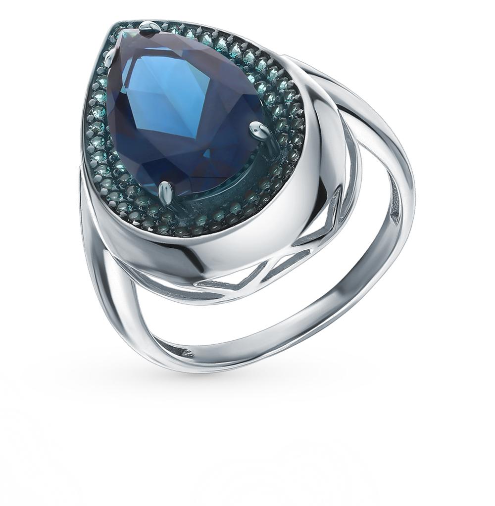 серебряное кольцо с нанокристаллами, топазами и изумрудами