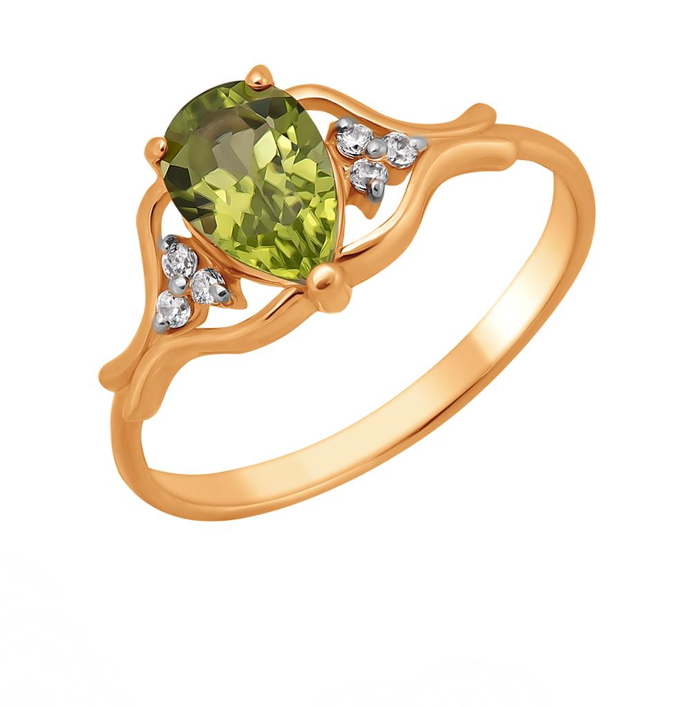 Фото «Золотое кольцо с хризолитом и фианитами»