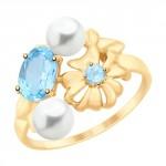Фото «Золотое кольцо с топазами и жемчугом SOKOLOV 791087»