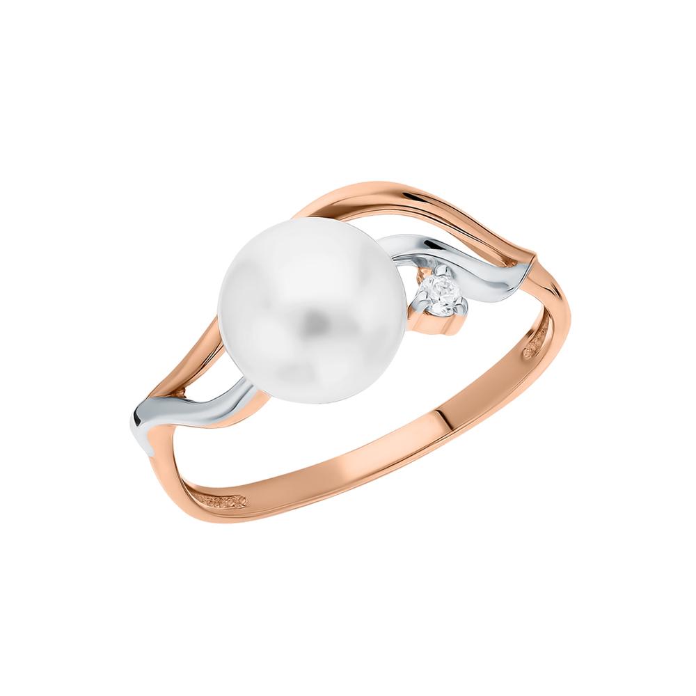 Золотое кольцо с фианитами и жемчугами культивированными в Екатеринбурге