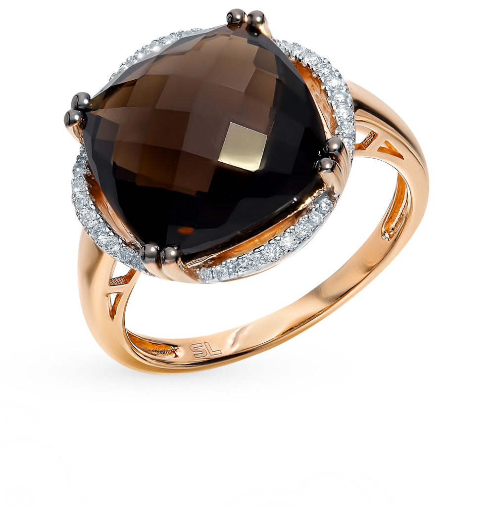 Фото «Золотое кольцо с раухтопазами и бриллиантами»