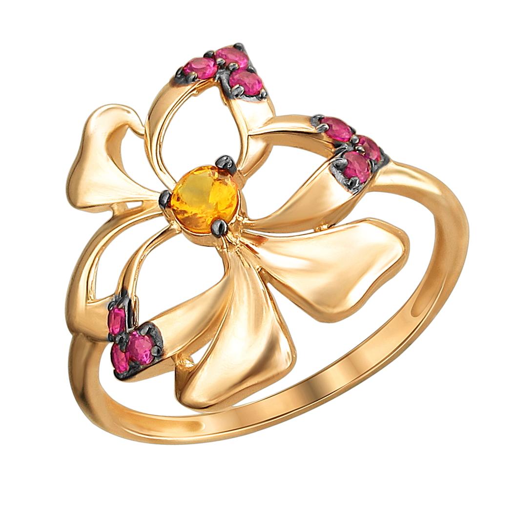 золотое кольцо с рубинами синтетическими