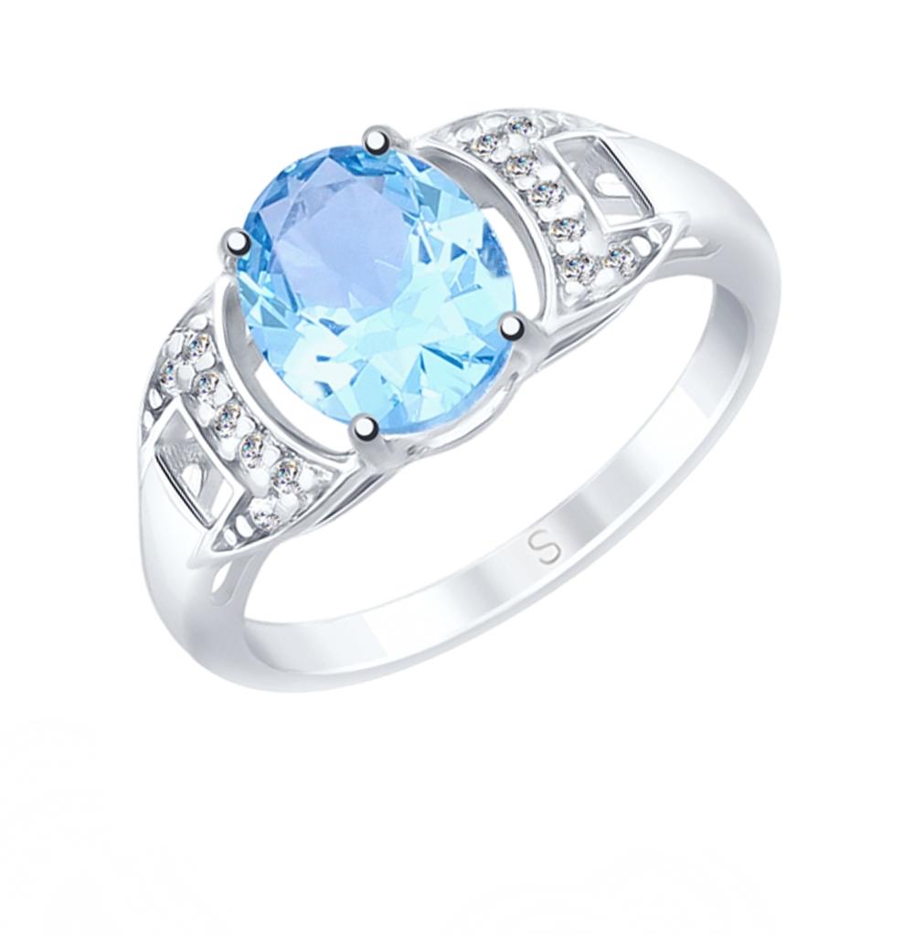 серебряное кольцо с топазами и фианитами SOKOLOV 92011555