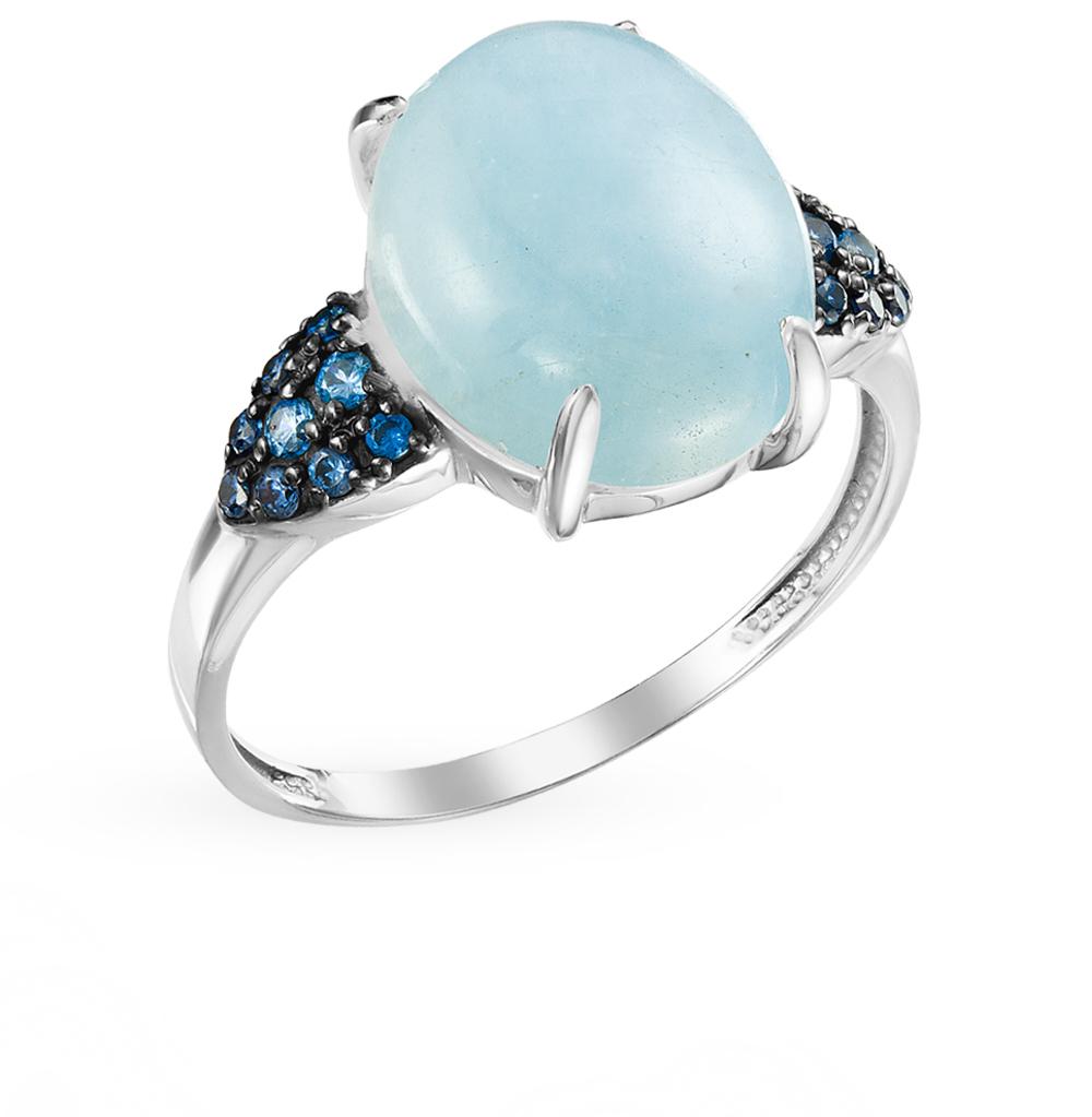 серебряное кольцо с аквамарином и фианитами