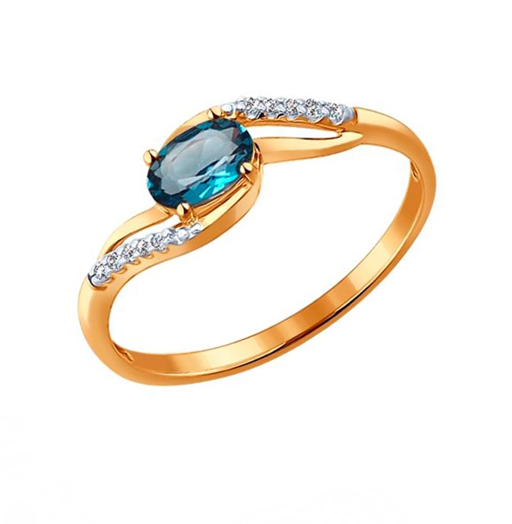 Фото «Золотое кольцо с топазами и фианитами SOKOLOV 714122*»