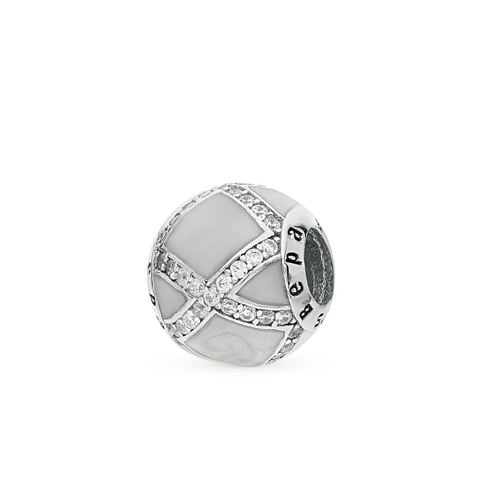серебряная подвеска с фианитами и эмалью