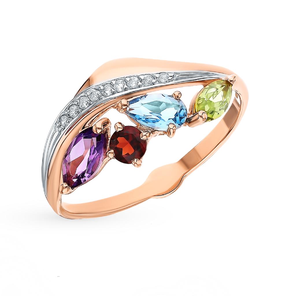 Фото «Золотое кольцо с хризолитом, аметистом, топазами, фианитами и гранатом SOKOLOV 715626»