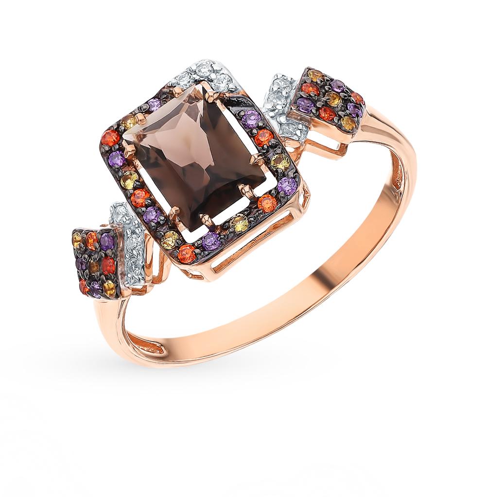 Фото «Золотое кольцо с раухтопазами, фианитами и цитринами»