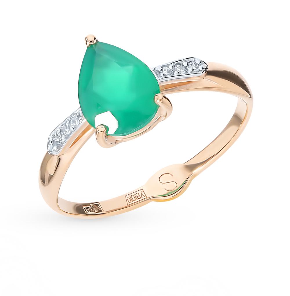 золотое кольцо с фианитами и агатом SOKOLOV 715074*