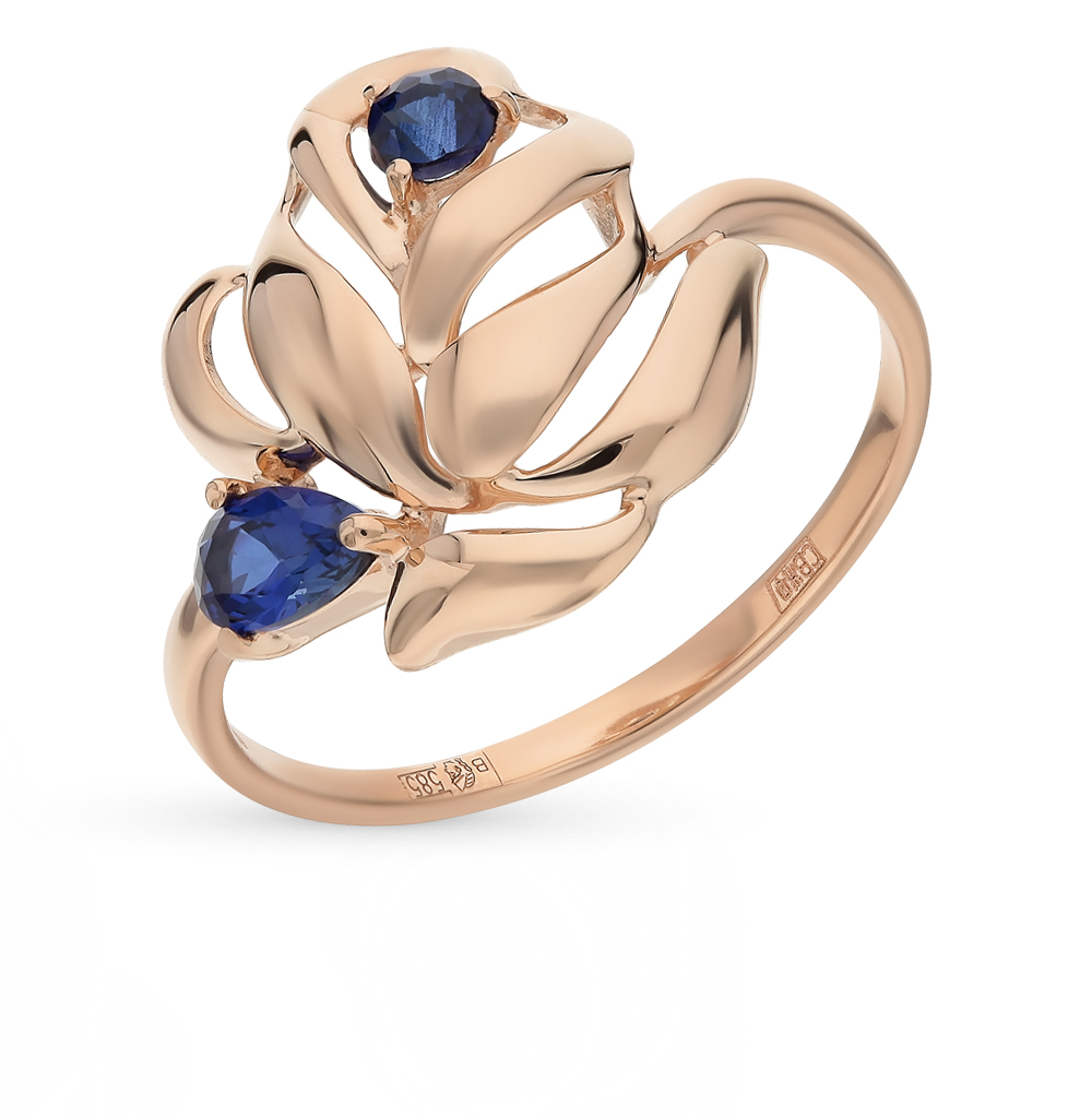 золотое кольцо с корундом SOKOLOV 714687*