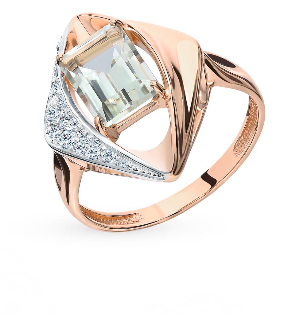 Золотое кольцо с аметистом, фианитами и празиолитами в Екатеринбурге