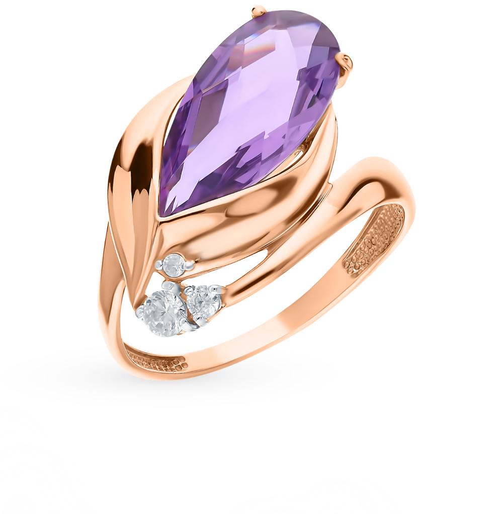 Золотое кольцо с аметистом и фианитами в Екатеринбурге