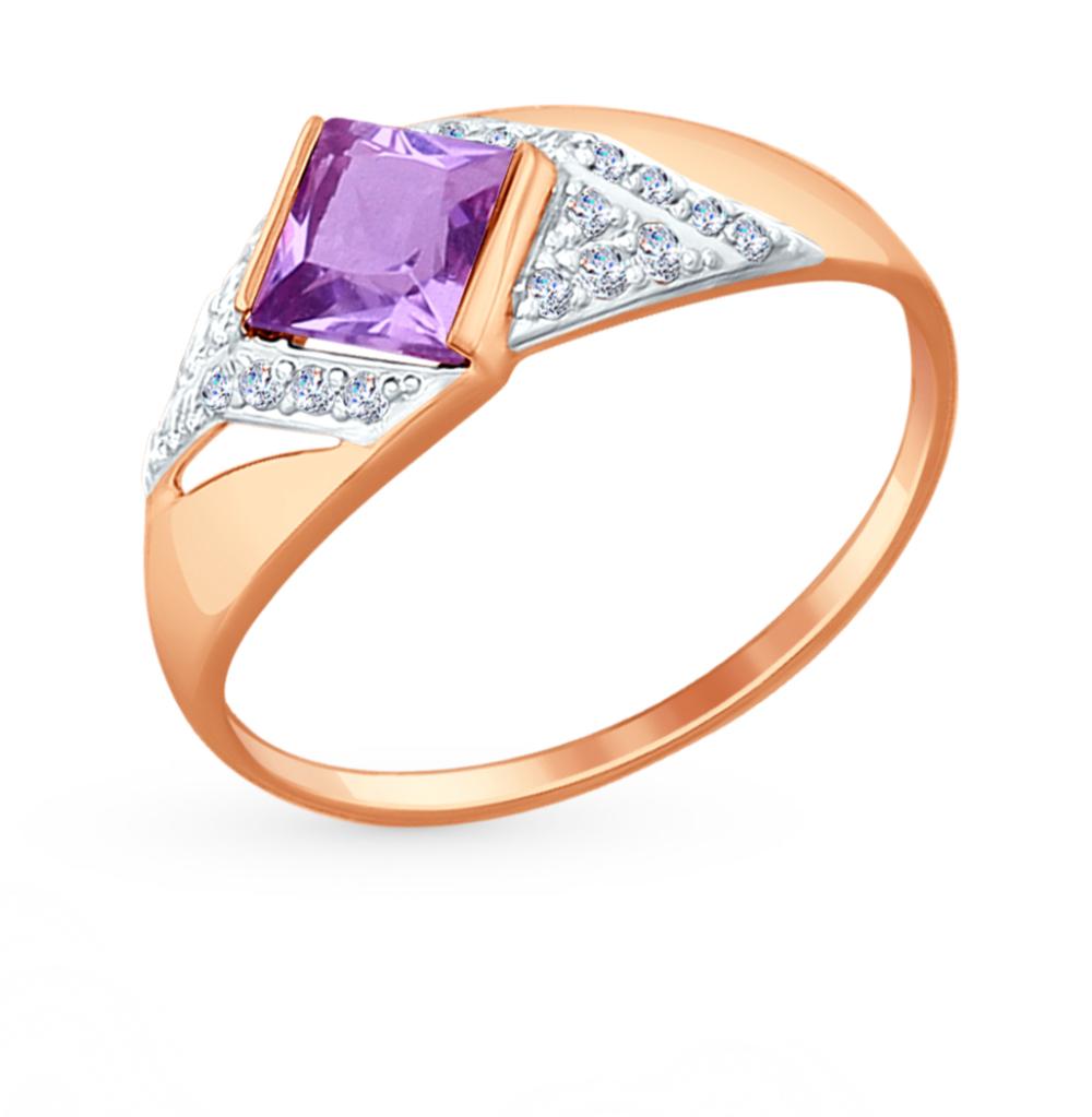 Фото «Золотое кольцо с аметистом и фианитами SOKOLOV 714697*»