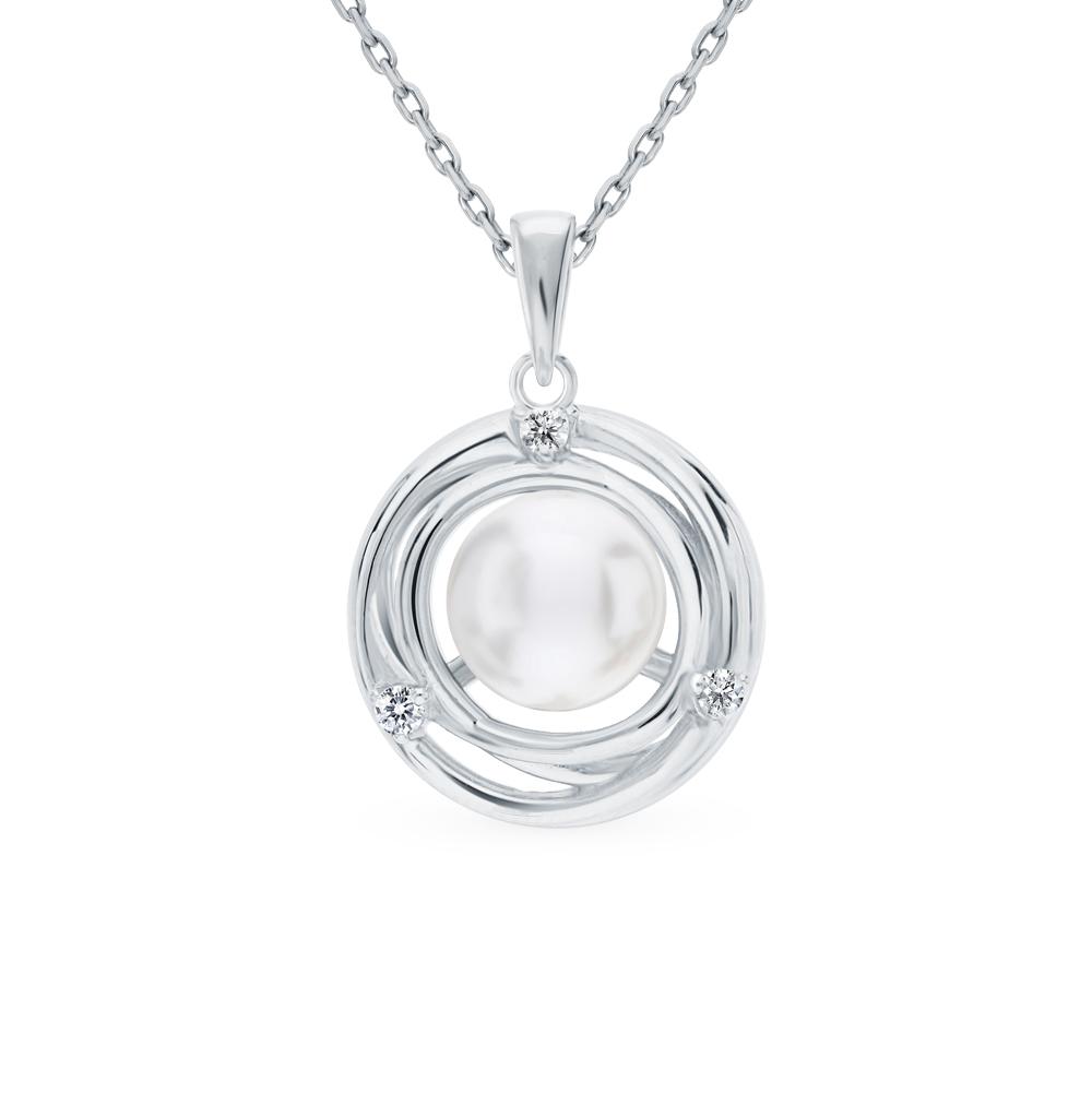 серебряное шейное украшение с фианитами и жемчугом
