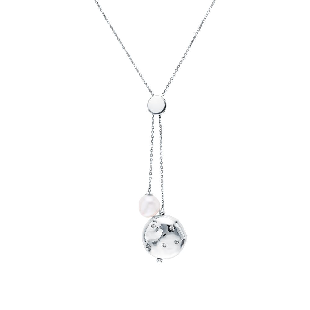 Фото «Серебряное колье с цирконием, жемчугом и кубическими циркониями»