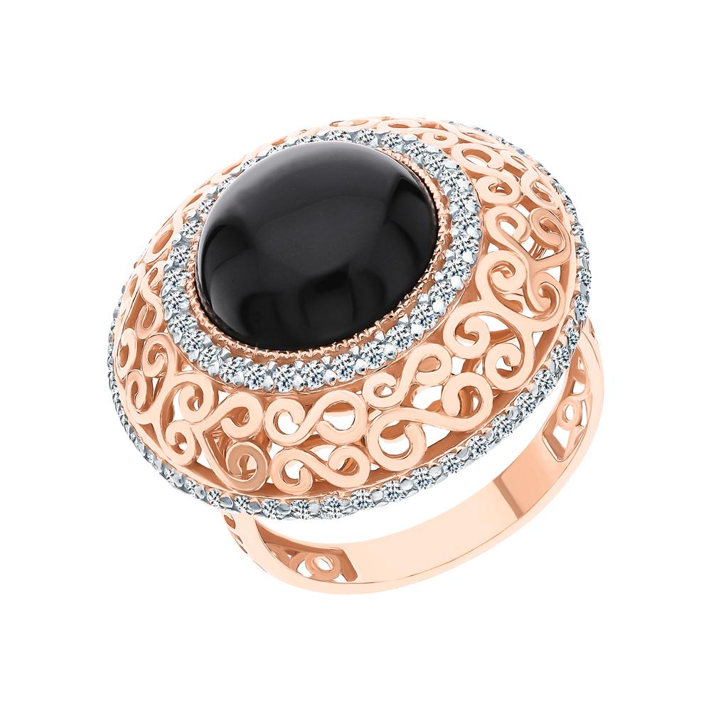 Фото «Серебряное кольцо с ониксом и кубическими циркониями»