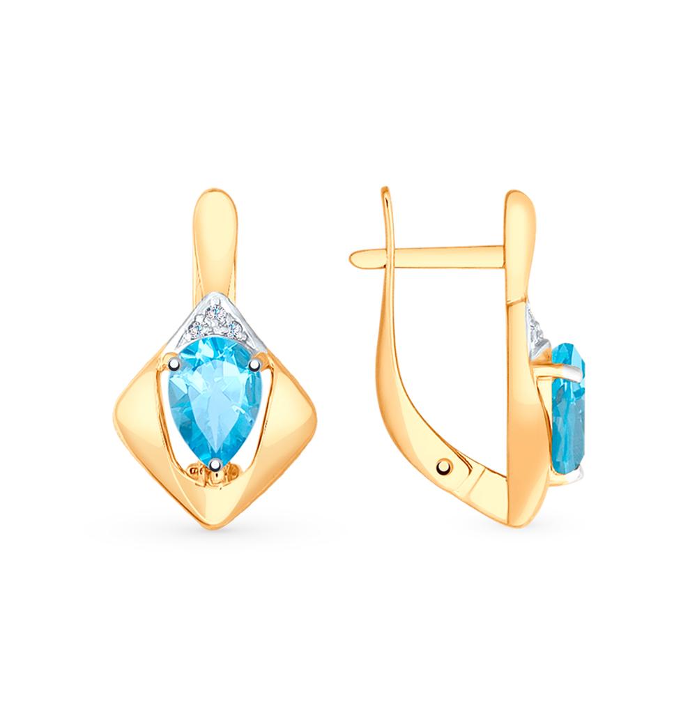 Фото «Золотые серьги с топазами и фианитами SOKOLOV 725591*»