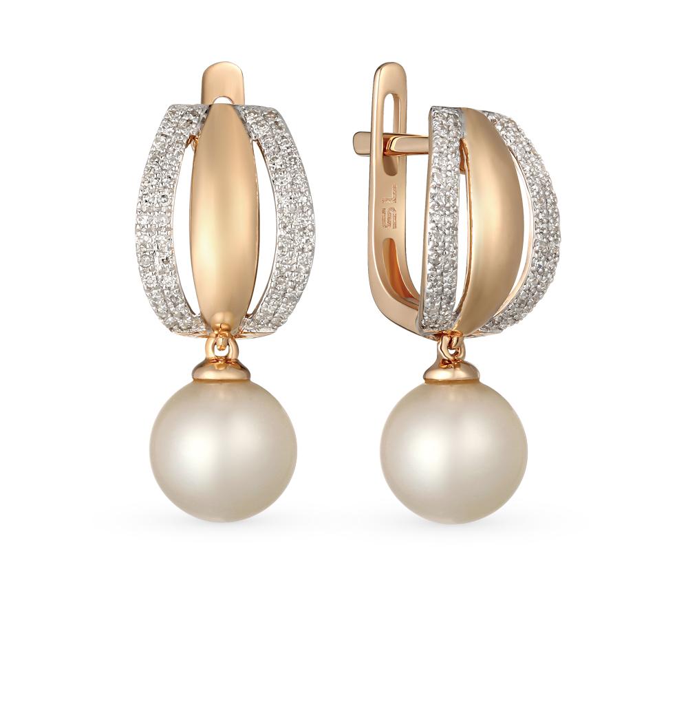 Фото «золото серьги с жемчугами культивированными и бриллиантами»