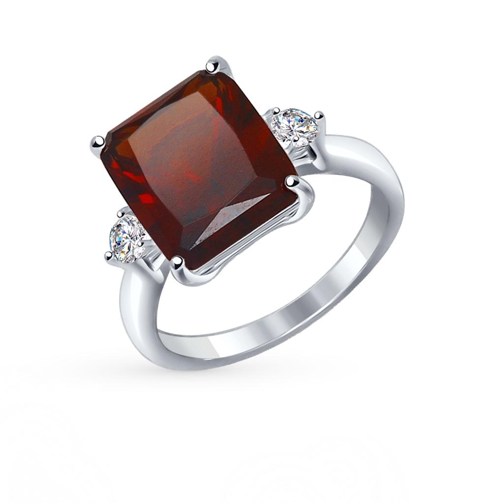 Серебряное кольцо с наноситалом и фианитами