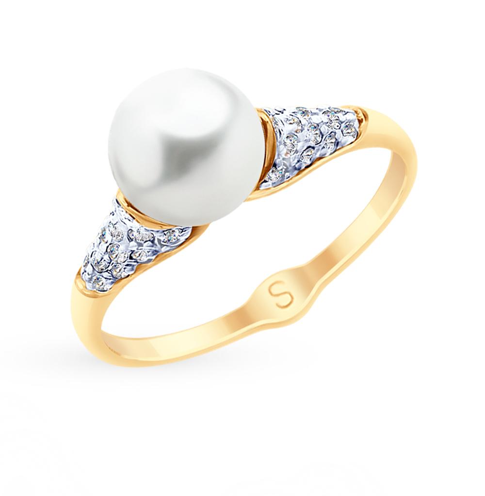 золотое кольцо с фианитами и жемчугом SOKOLOV 791079*