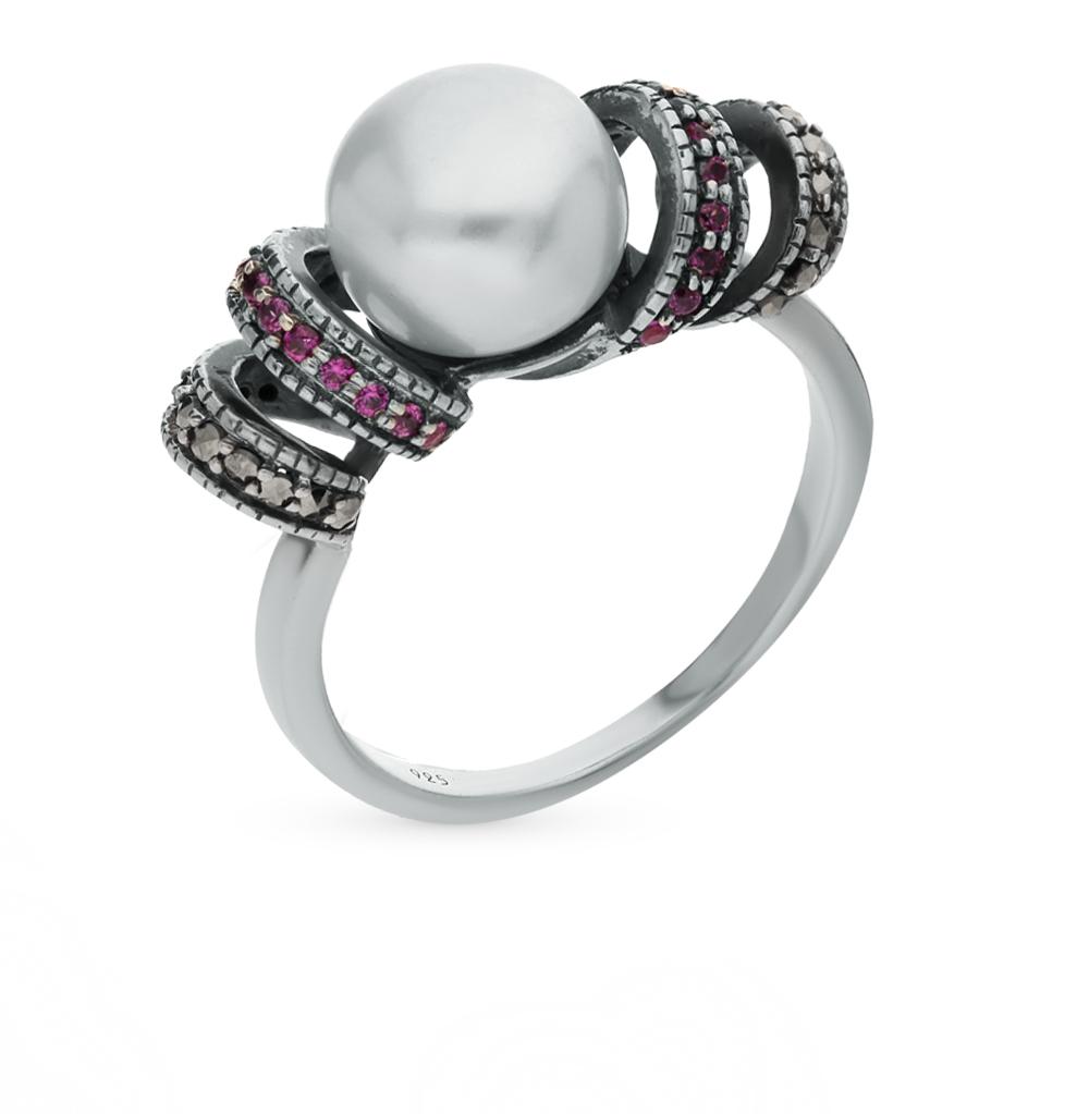 Фото «Серебряное кольцо с марказитами, сапфирами и жемчугом»