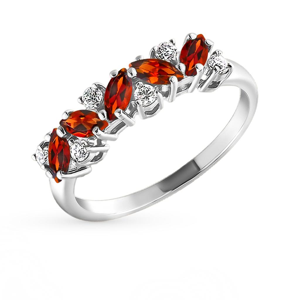 Фото «Серебряное кольцо с фианитами и гранатом SOKOLOV 92010007»