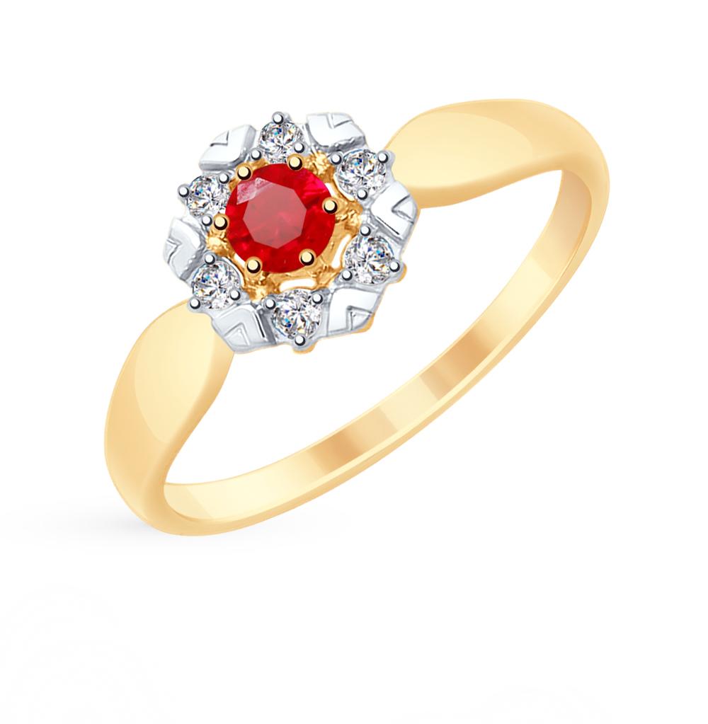 Золотое кольцо с корундом и фианитами SOKOLOV 715308* в Санкт-Петербурге