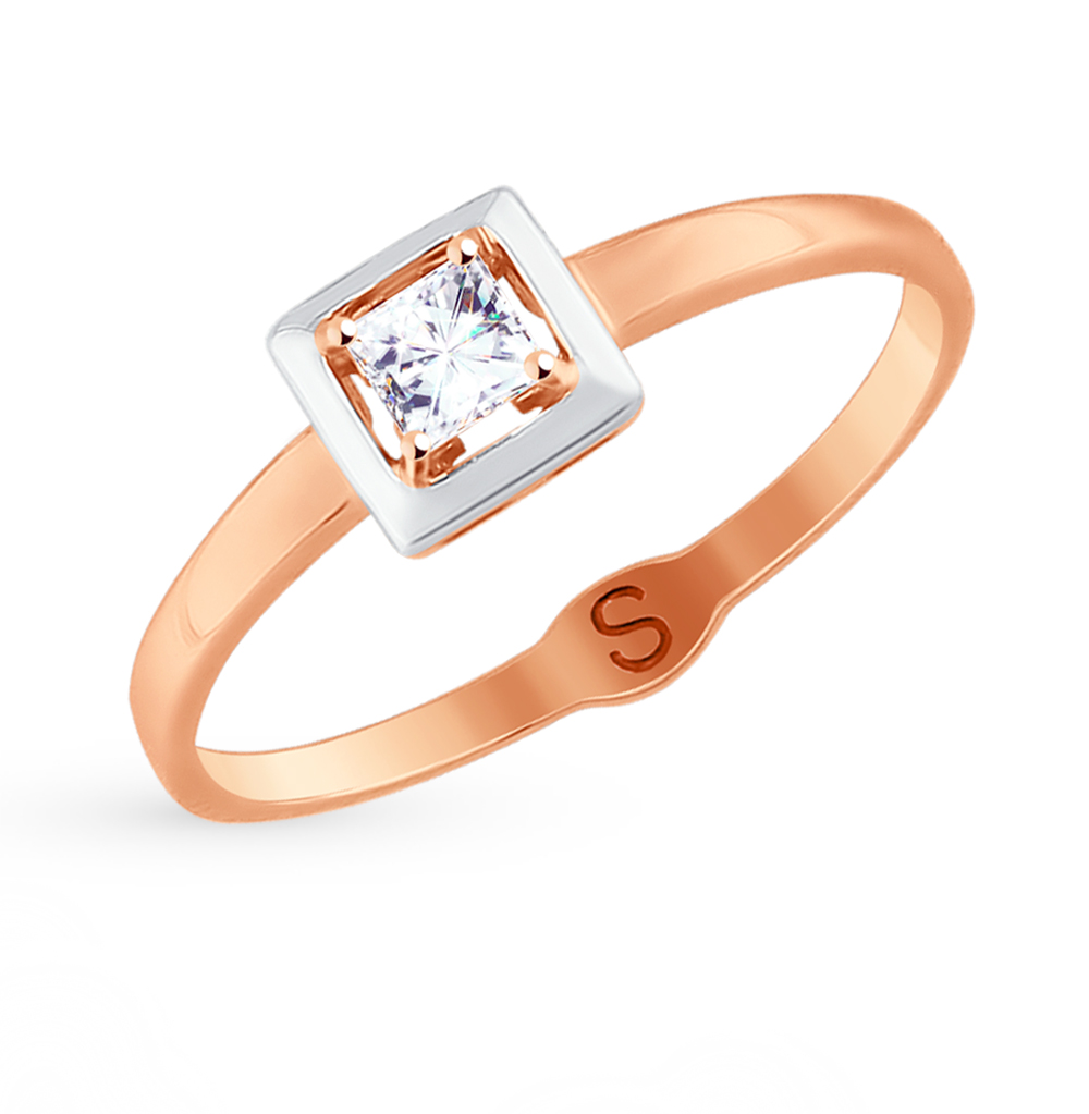 золотое кольцо с фианитами SOKOLOV 017690*