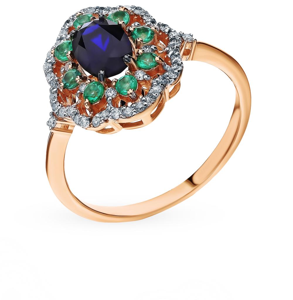 Золотое кольцо с сапфиром, изумрудами и бриллиантами в Екатеринбурге