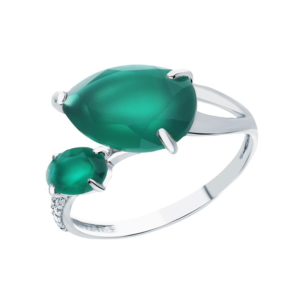 Фото «Серебряное кольцо с хризопразами и фианитами»