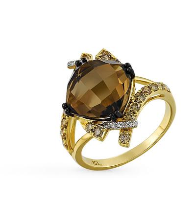 Фото «золотое кольцо с коньячными бриллиантами, кварцем и бриллиантами»
