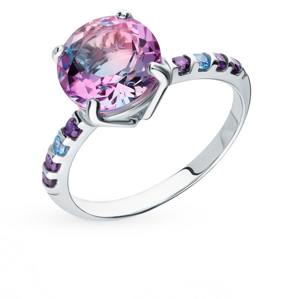 Серебряное кольцо с фианитами и ситаллом SOKOLOV 92011717