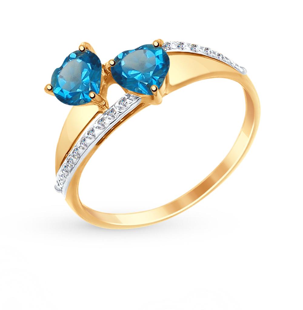 золотое кольцо с топазами и фианитами SOKOLOV 714999*