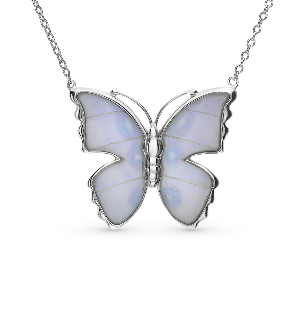 серебряное шейное украшение с эмалью и крылами бабочками