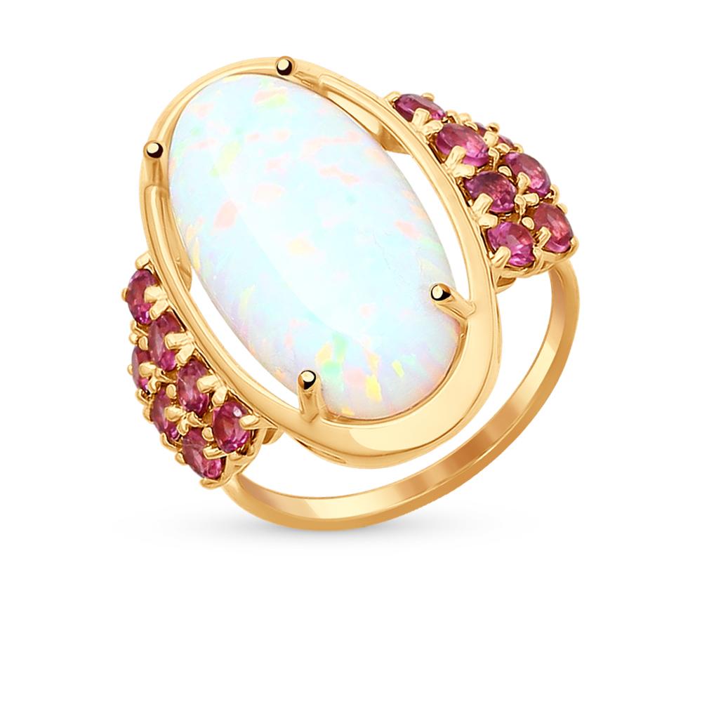Фото «золотое кольцо с опалами и родолитами»