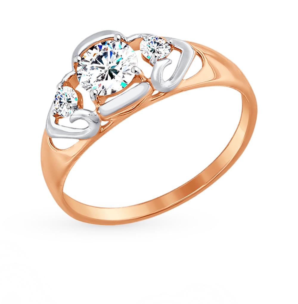 золотое кольцо с фианитами SOKOLOV 017481*