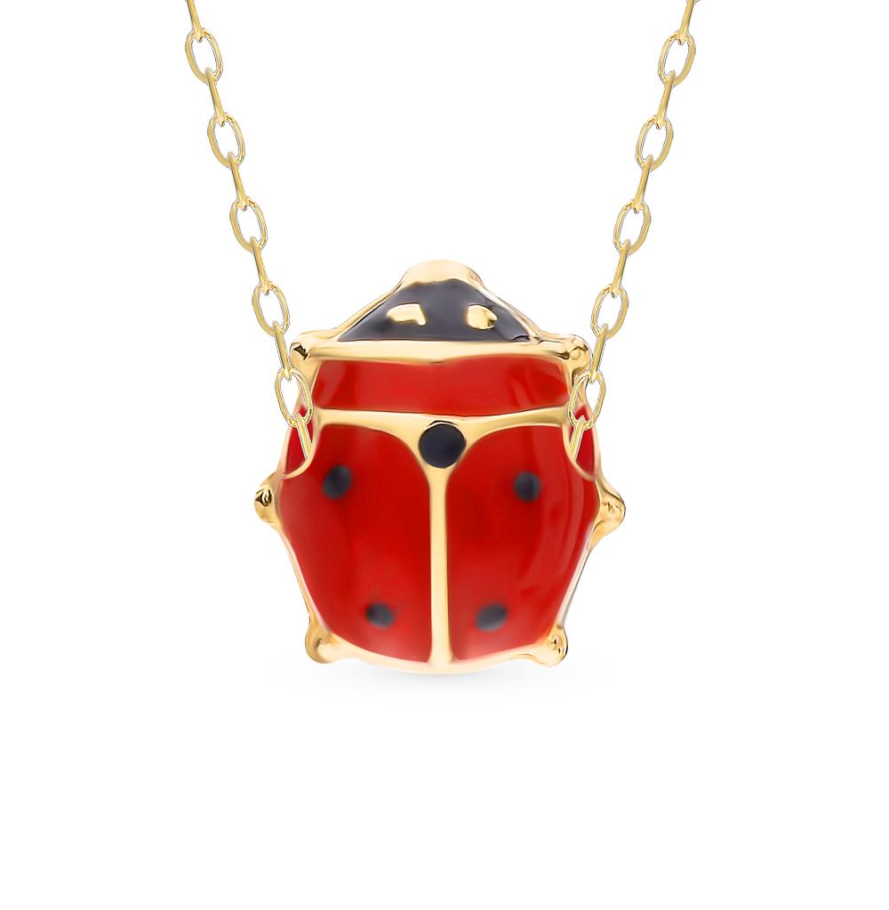 золотое шейное украшение с эмалью