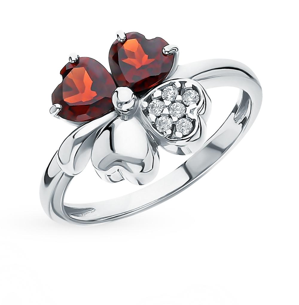 Серебряное кольцо с фианитами и гранатом в Екатеринбурге