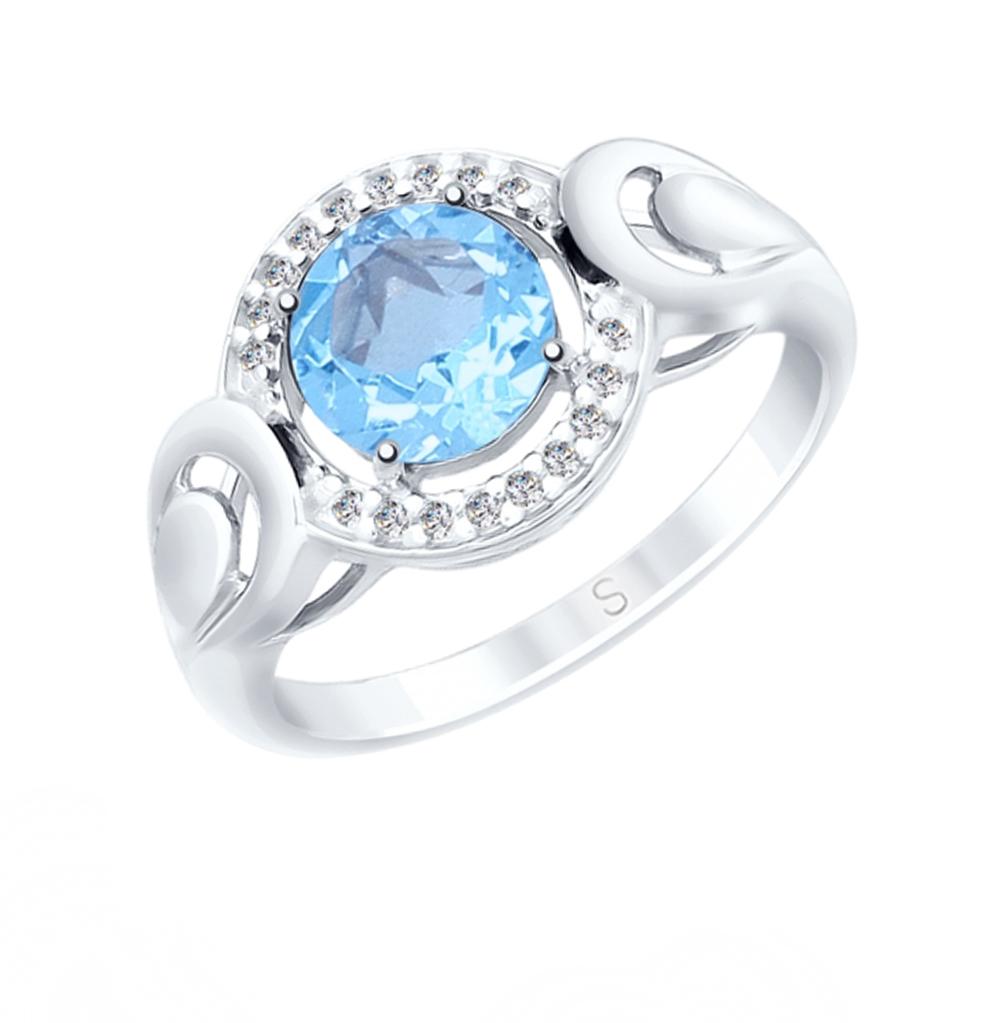 серебряное кольцо с топазами и фианитами SOKOLOV 92011563
