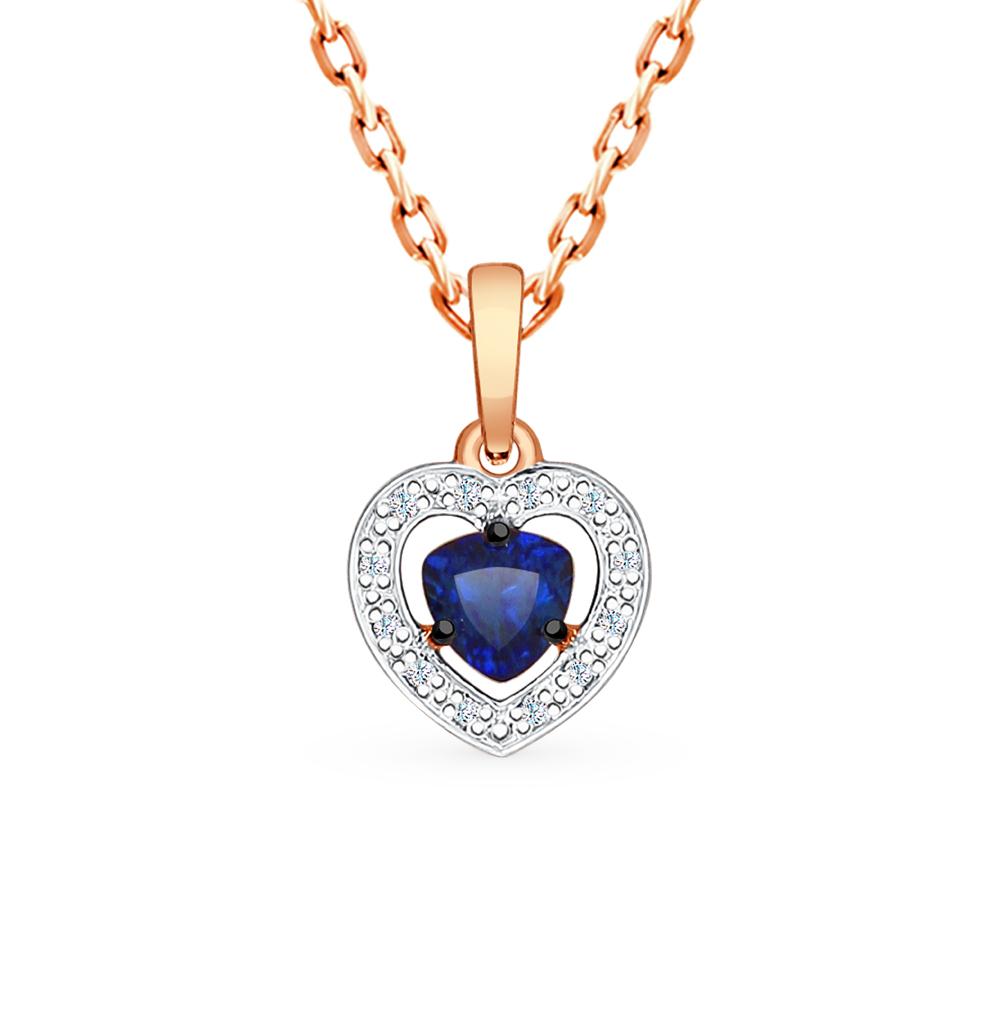 золотая подвеска с корундом и бриллиантами SOKOLOV 6032042
