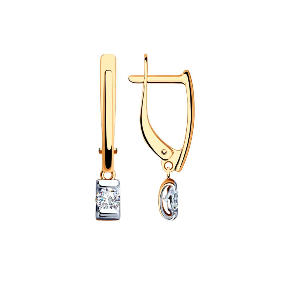 Фото «Золотые серьги с фианитами SOKOLOV 028470»