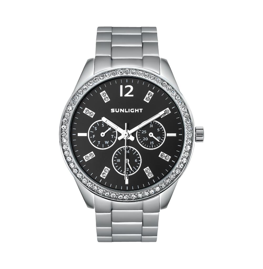 Женские часы с календарем на металлическом браслете
