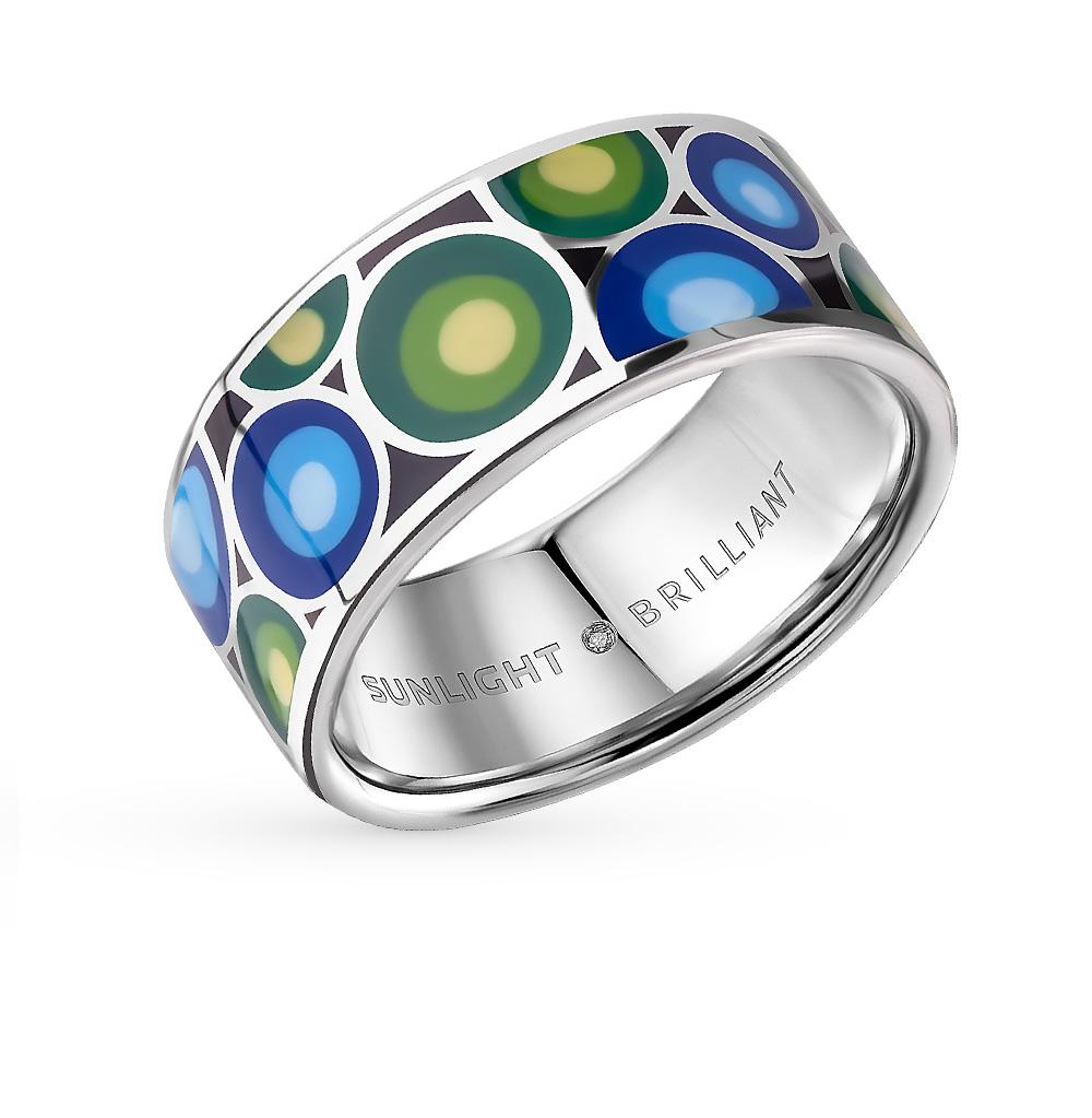 Фото «серебряное кольцо с фианитами, эмалью и бриллиантами»