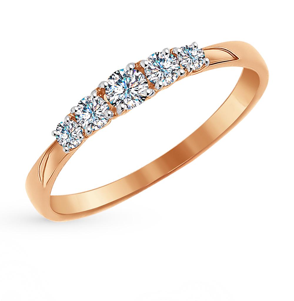 золотое кольцо с фианитами SOKOLOV 81010235*